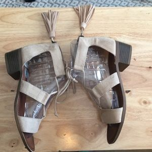 Adorable faux suede nude gladiator sandals